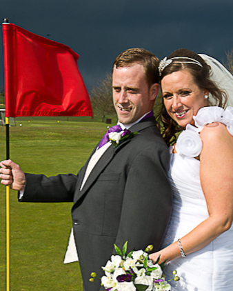 Bride and groom at Herfordshire golf club