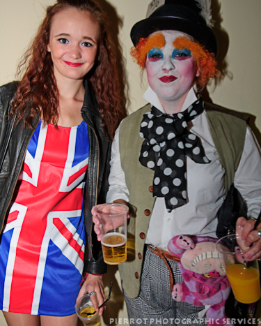 Cromer carnival fancy dress Union jack and clown