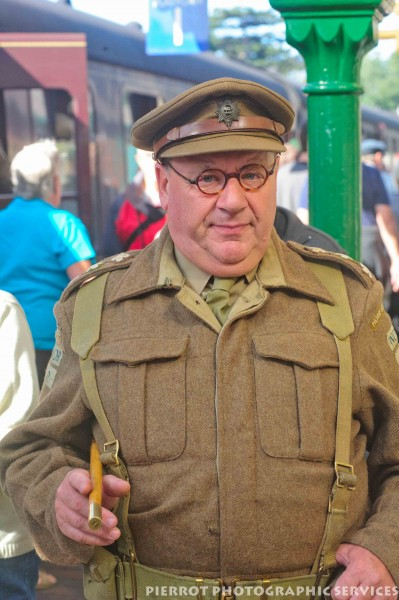 Man wearing a Captain's army uniform at 1940s weekend in Sheringham