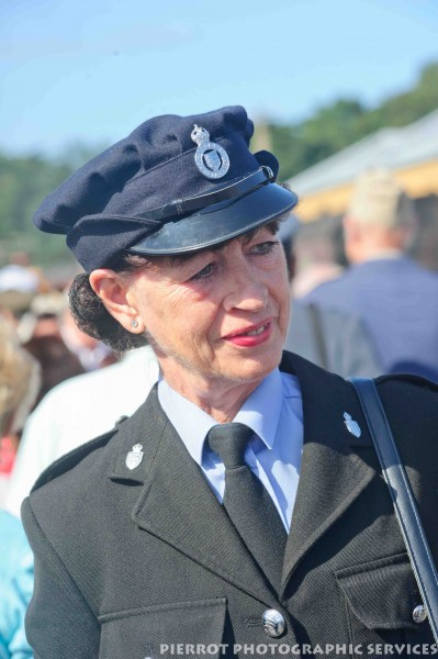 Woman in military uniform at the 1940s weekend at Sheringham 2012
