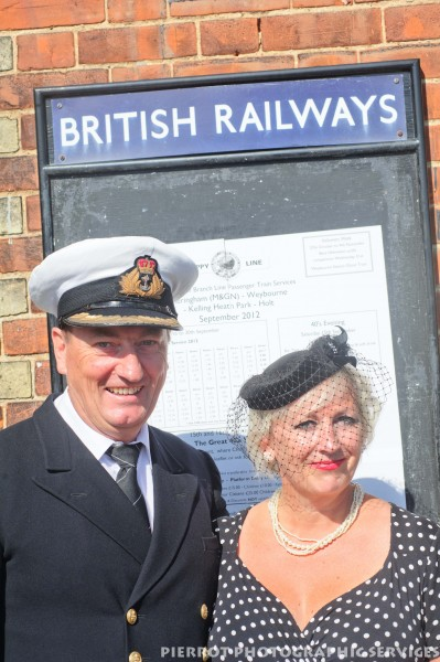 Couple in period costume at the 1940s weekend in Sheringham, North Norfolk 2012