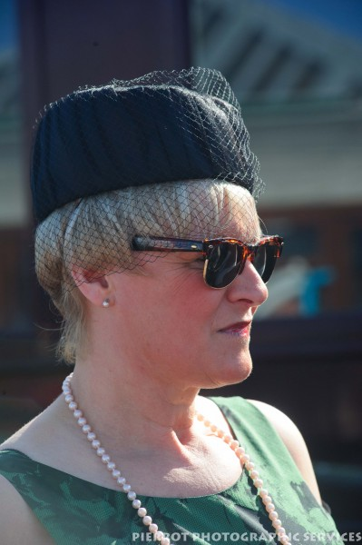 Woman in period hat at the 1940s weekend in Sheringham, North Norfolk 2012
