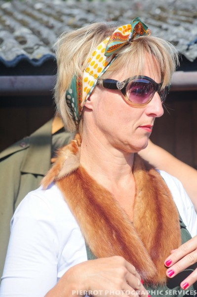 Woman in fox stole at the 1940s weekend in Sheringham, North Norfolk 2012