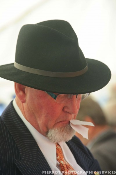 Man in period hat at the 1940s weekend in Sheringham, North Norfolk 2012