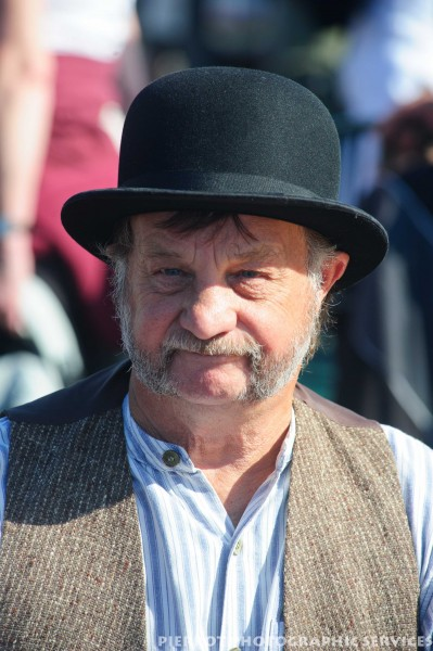Man in period costume at the 1940s weekend in Sheringham, North Norfolk 2012
