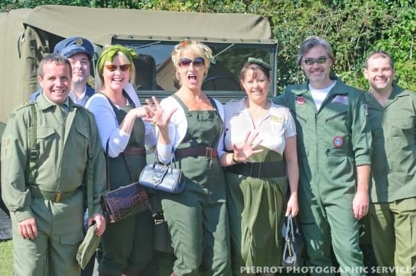 Group of Americans at at the 1940s weekend in Sheringham, North Norfolk 2012