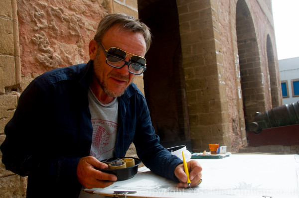 Eric Chevaleyre, famous French actor and illustrator working in Essaouira, Morocco