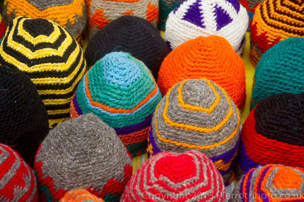 Wollen hats in the souk in Morocco