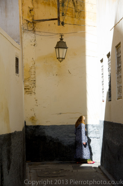 Moroccan woman in the medina at Fez, Morocco
