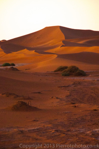 After sunset in the Sahara desert, Morocco