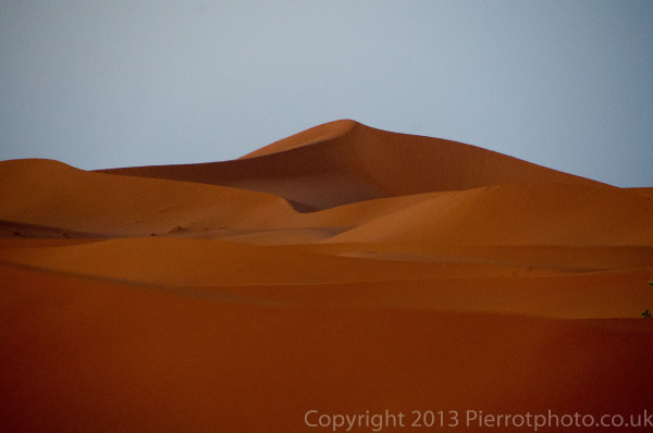 Sunset in the Sahara desert, Morocco