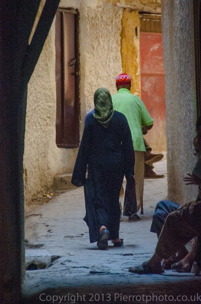 Moroccan couple in the medina at Fez, Morocco