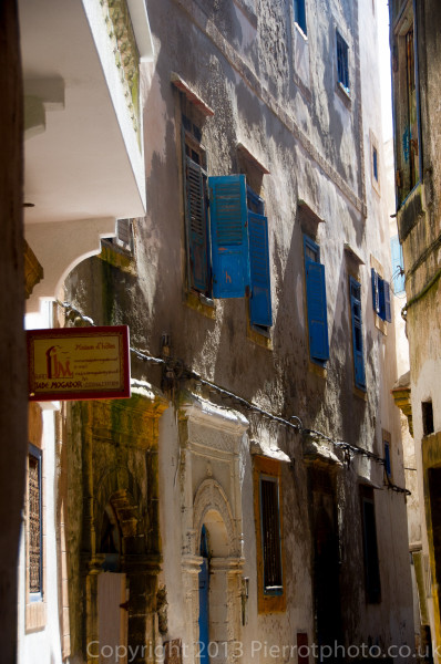 Windows on buildings in the medina in Essaouira, Morocco
