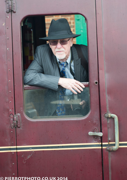 1940s weekend in Sheringham North Norfolk 2014 - leaning out of the train window