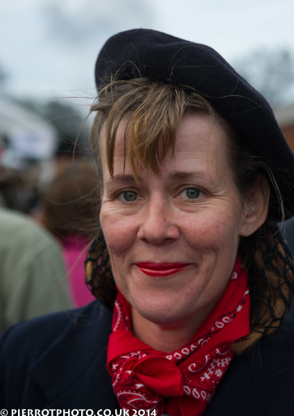 1940s weekend in Sheringham North Norfolk 2014 - attractive woman in French beret