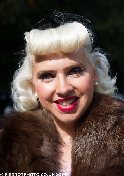 1940s weekend in Sheringham North Norfolk 2014 - attractive woman with huge quiff