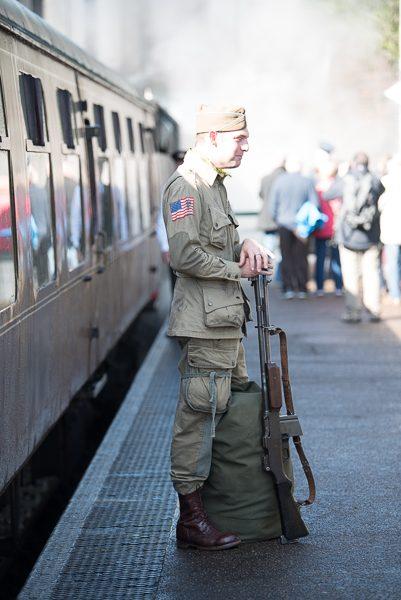 1940s weekend in Sheringham North Norfolk 2017. GI on station platform