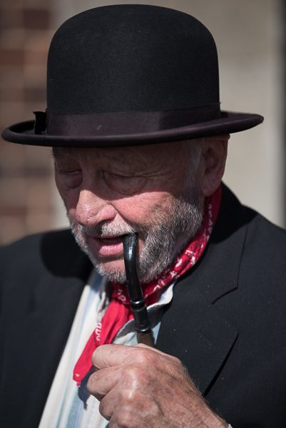 1940s weekend in Sheringham North Norfolk 2017. Man with pipe and red neckerchief