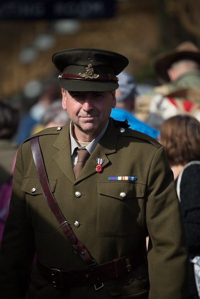 1940s weekend in Sheringham North Norfolk 2017. Army officer in full military uniform