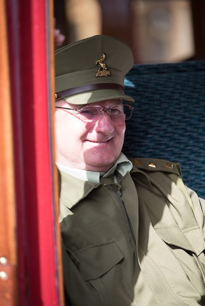 1940s weekend in Sheringham North Norfolk 2017. Army officer in railway carriage