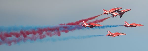 Red Arrows display team at Cromer carnival
