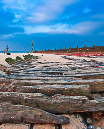 The rediscovered Ipsolen ship after 100 years on Sheringham Beach