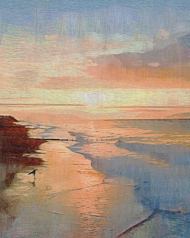 Cromer beach at sunset