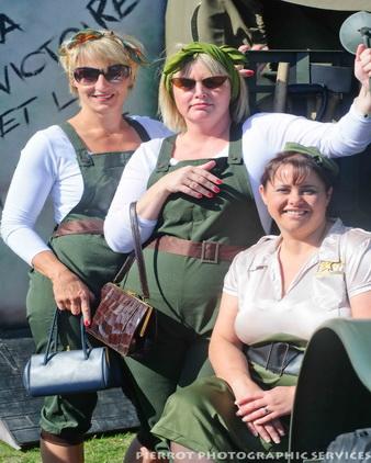 Three pretty landgirls at the 1940s weekend in Sheringham 2012