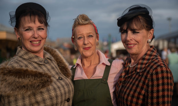 Three land girls at Sheringham 1940s weekend